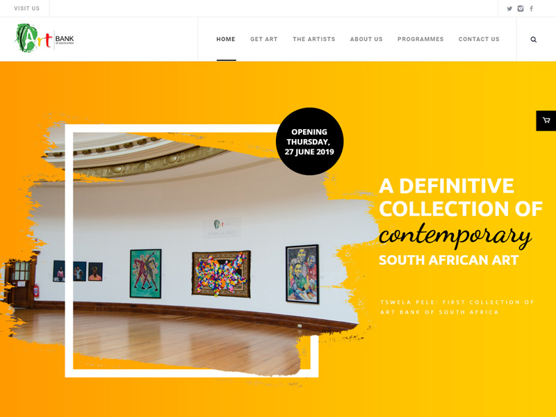 The Art Bank of South Africa or ArtbankSA is a new initiative from the Department of Arts and Culture as part of the Mzansi Golden Economy (MGE) strategy implementation and is hosted by the National Museum Bloemfontein, an agency of the Department of Arts and Culture. The Art Bank of South Africa is tasked with purchasing artworks from South African artists, particularly that of emerging artists in order to lease and sell the artworks to South African government departments, private companies and private individuals. Focussed on nurturing emerging contemporary South African artists the annual acquisitions by the Department of Arts & Culture will be available for leasing by means of the website; which boasts an online store.